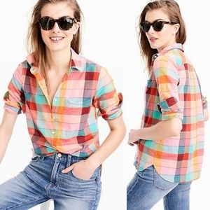 J. Crew • Rainbow vintage plaid popover shirt